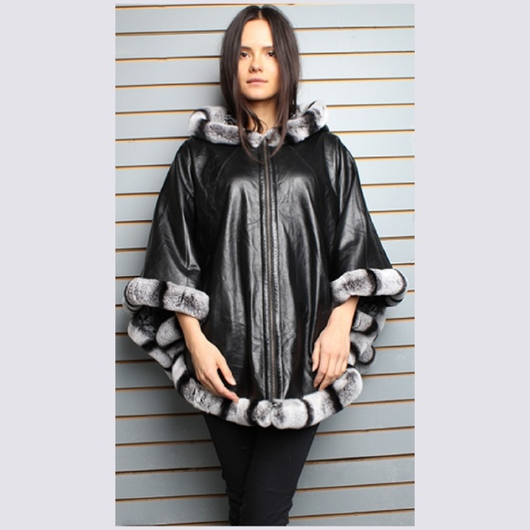 19d8f6f61f96 Black Leather Cape Hood Rex Chinchilla Fur Trim. Boutique. Marc Kaufman Furs